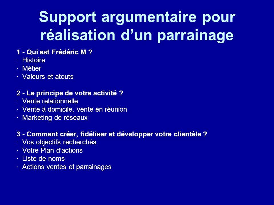 Support argumentaire pour réalisation dun parrainage 1 - Qui est Frédéric M ? · Histoire · Métier · Valeurs et atouts 2 - Le principe de votre activit