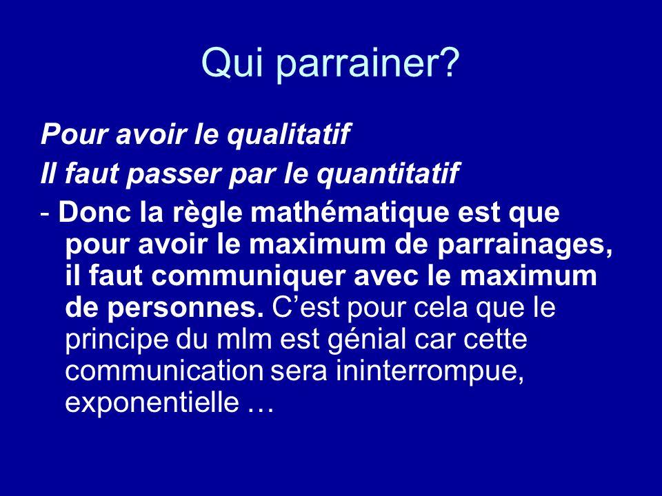 Qualités dun « bon » parraineur Soyez patient Parrainer, développer un réseau, ne se fait pas en 1 mois.