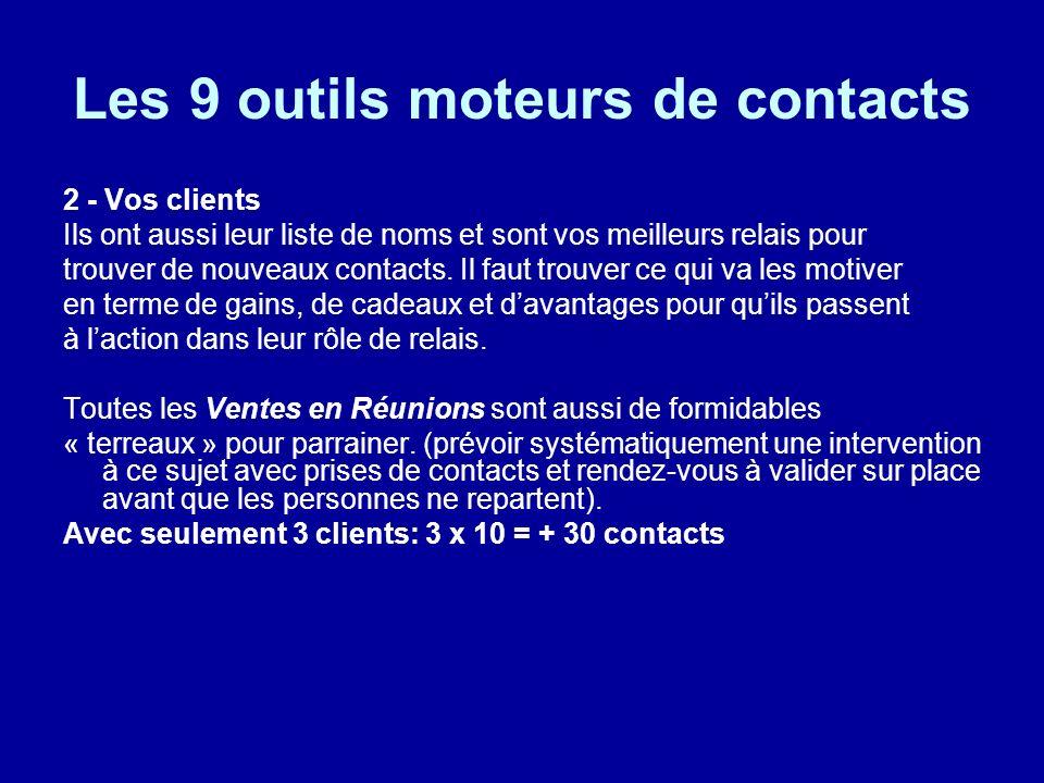 Les 9 outils moteurs de contacts 2 - Vos clients Ils ont aussi leur liste de noms et sont vos meilleurs relais pour trouver de nouveaux contacts. Il f