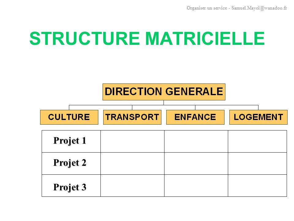 STRUCTURE MATRICIELLE Remettent en cause le principe d unité de commandement La double hiérarchie (responsable fonctionnel, chef de projet) risque de fragiliser l organisation.
