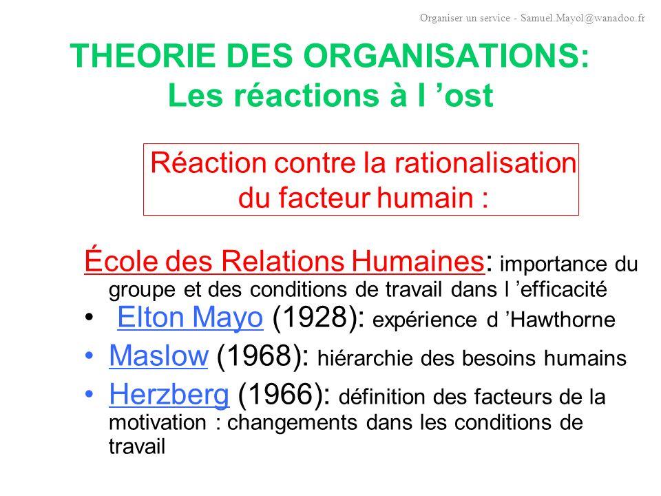 THEORIE DES ORGANISATIONS: La rationalisation du facteur humain Premières réflexions sur l organisation viennent de différents ingénieurs: Henri Fayol (1841-1925): rationalisation de la fonction administrative souvent négligée.