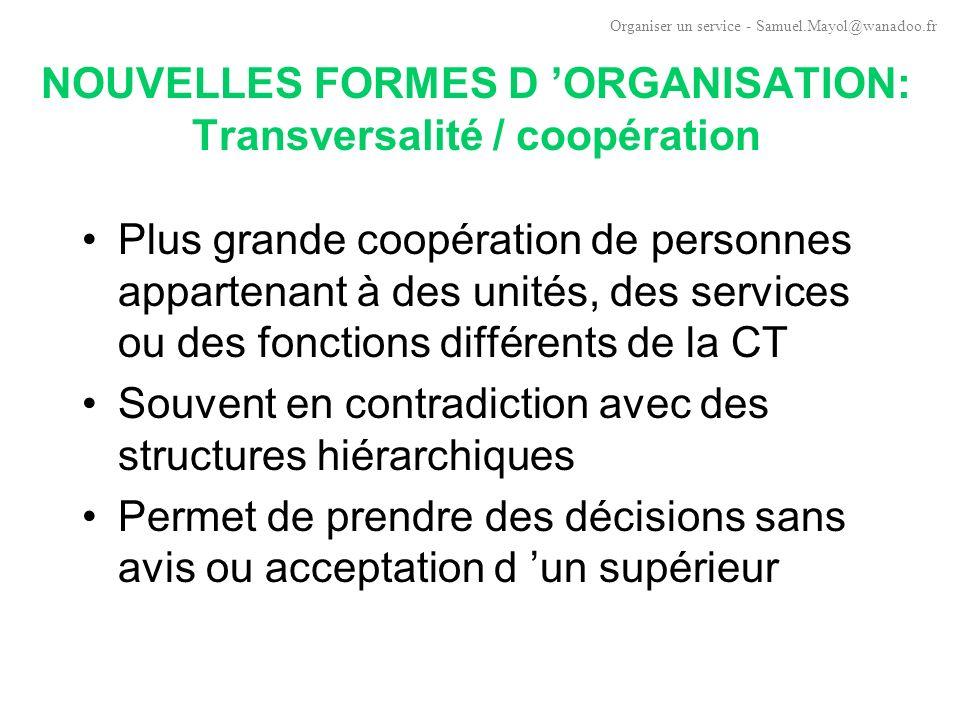 NOUVELLES FORMES D ORGANISATION: Réseaux marchands Partenariats, alliances, coopérations intercollectivités.
