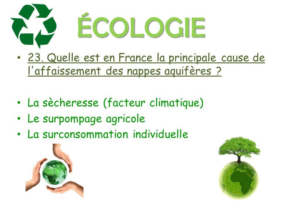 ÉCOLOGIE 23. Quelle est en France la principale cause de l affaissement des nappes aquifères .