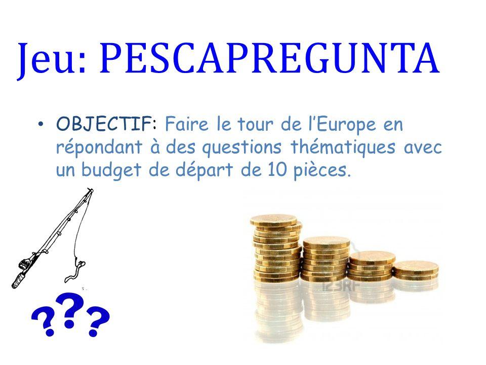 Jeu: PESCAPREGUNTA OBJECTIF: Faire le tour de lEurope en répondant à des questions thématiques avec un budget de départ de 10 pièces.