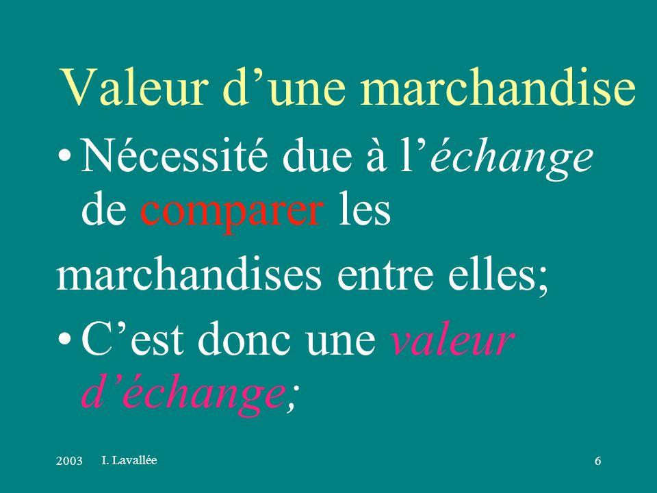 20035 Pour quon échange des marchandises, il faut quon en ait l usage. Marchandise I. Lavallée
