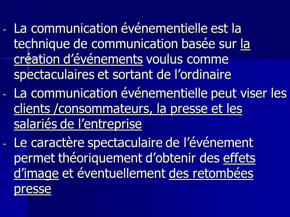 - La communication événementielle est la technique de communication basée sur la création dévénements voulus comme spectaculaires et sortant de lordin