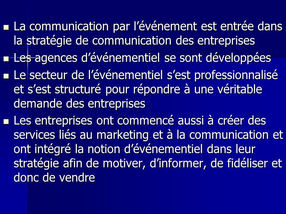 La communication par lévénement est entrée dans la stratégie de communication des entreprises La communication par lévénement est entrée dans la strat