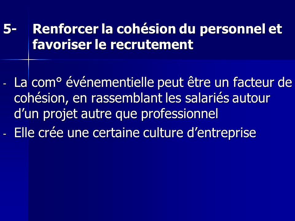 5-Renforcer la cohésion du personnel et favoriser le recrutement - La com° événementielle peut être un facteur de cohésion, en rassemblant les salarié