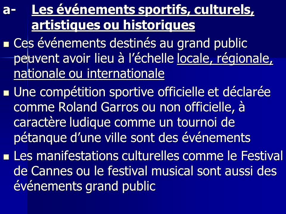 a-Les événements sportifs, culturels, artistiques ou historiques Ces événements destinés au grand public peuvent avoir lieu à léchelle locale, régiona