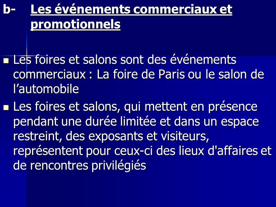 b-Les événements commerciaux et promotionnels Les foires et salons sont des événements commerciaux : La foire de Paris ou le salon de lautomobile Les