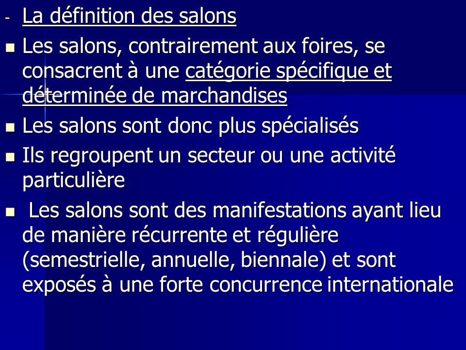 - La définition des salons Les salons, contrairement aux foires, se consacrent à une catégorie spécifique et déterminée de marchandises Les salons, co