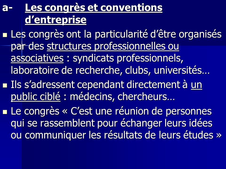 a-Les congrès et conventions dentreprise Les congrès ont la particularité dêtre organisés par des structures professionnelles ou associatives : syndic