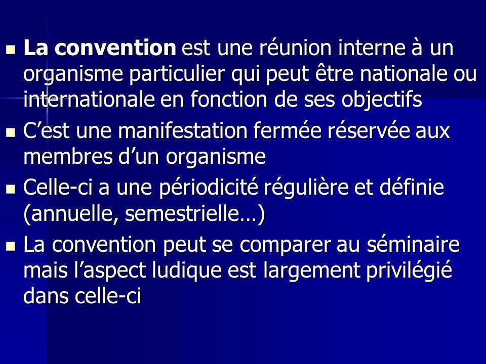 La convention est une réunion interne à un organisme particulier qui peut être nationale ou internationale en fonction de ses objectifs La convention