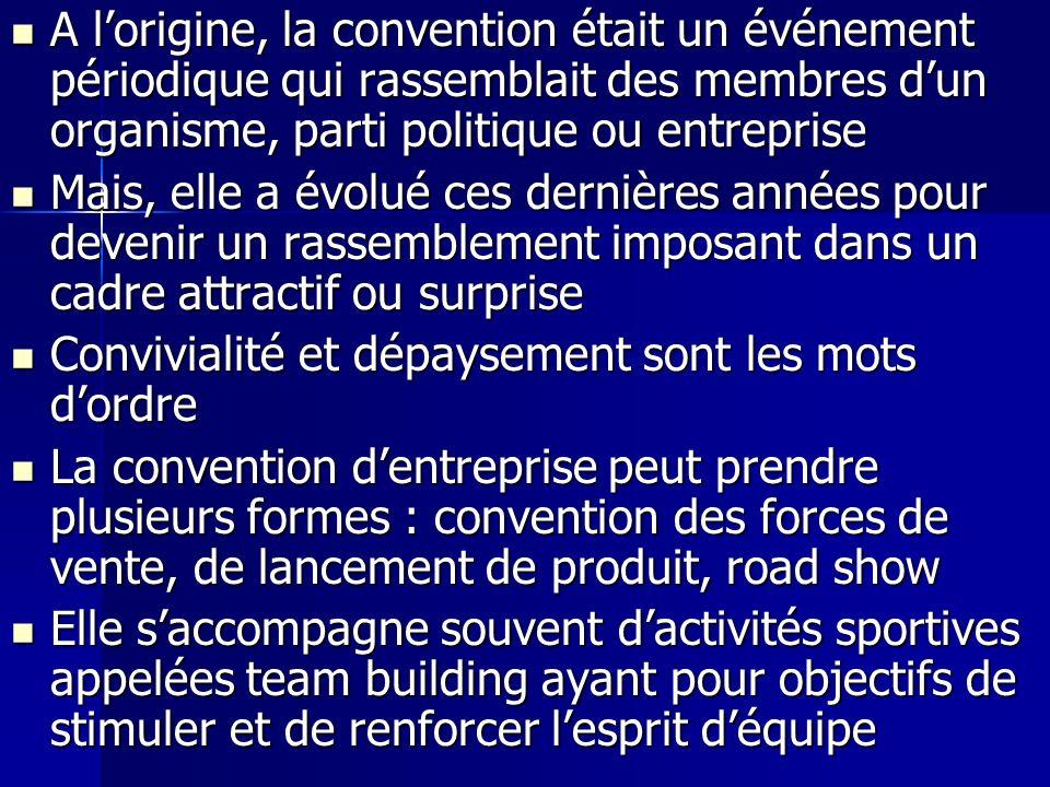 A lorigine, la convention était un événement périodique qui rassemblait des membres dun organisme, parti politique ou entreprise A lorigine, la conven
