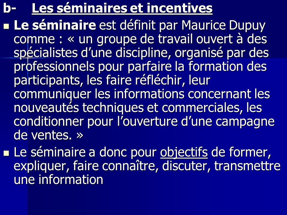 b-Les séminaires et incentives Le séminaire est définit par Maurice Dupuy comme : « un groupe de travail ouvert à des spécialistes dune discipline, or