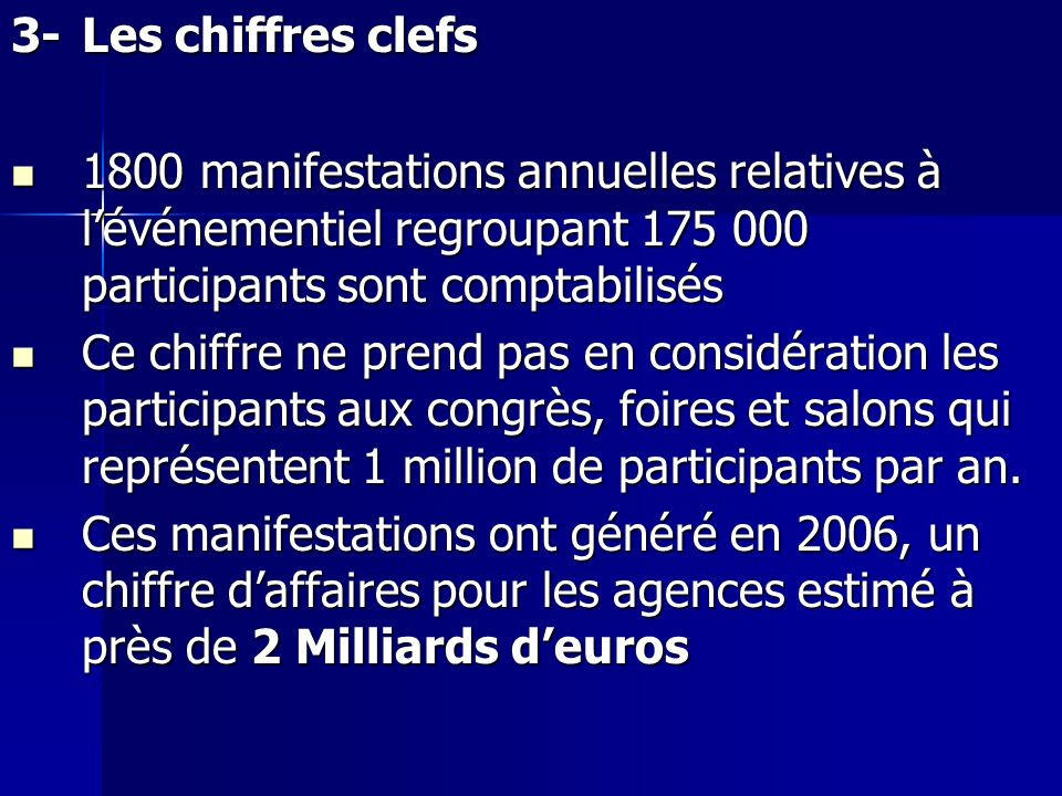 3-Les chiffres clefs 1800 manifestations annuelles relatives à lévénementiel regroupant 175 000 participants sont comptabilisés 1800 manifestations an