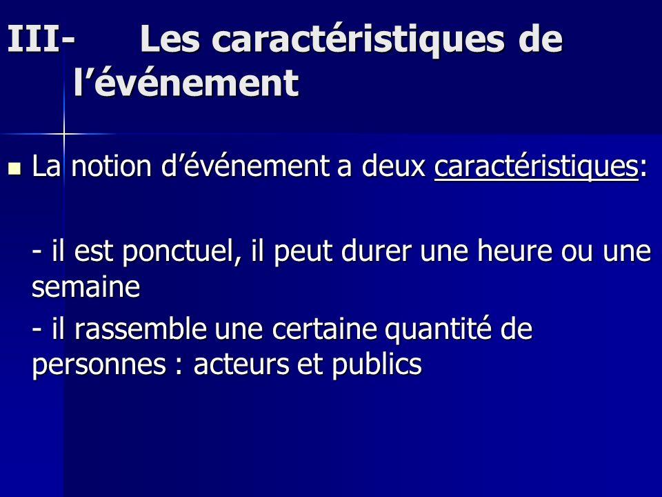 III-Les caractéristiques de lévénement La notion dévénement a deux caractéristiques: La notion dévénement a deux caractéristiques: - il est ponctuel,