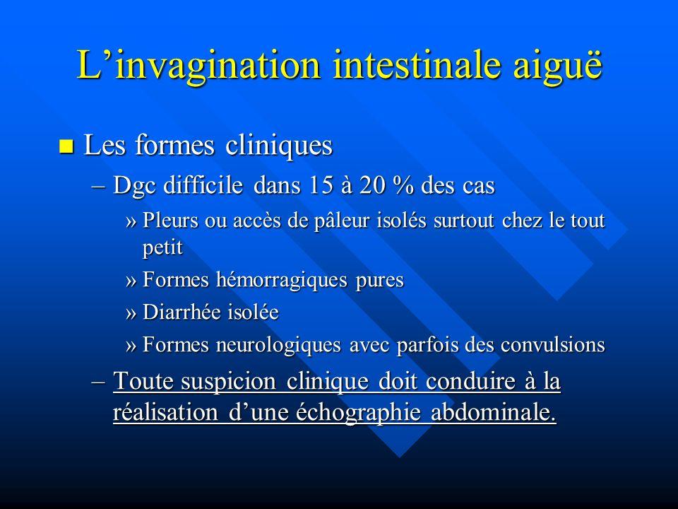 Linvagination intestinale aiguë Les formes cliniques Les formes cliniques –Dgc difficile dans 15 à 20 % des cas »Pleurs ou accès de pâleur isolés surt