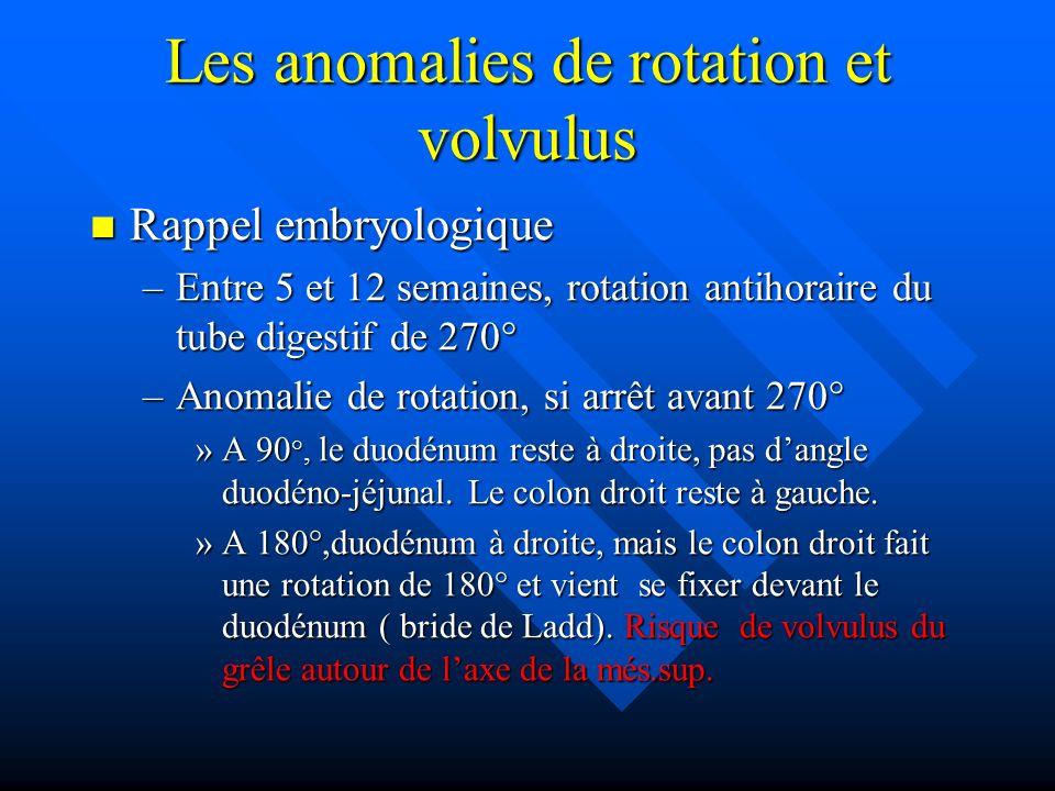 Les anomalies de rotation et volvulus Rappel embryologique Rappel embryologique –Entre 5 et 12 semaines, rotation antihoraire du tube digestif de 270°