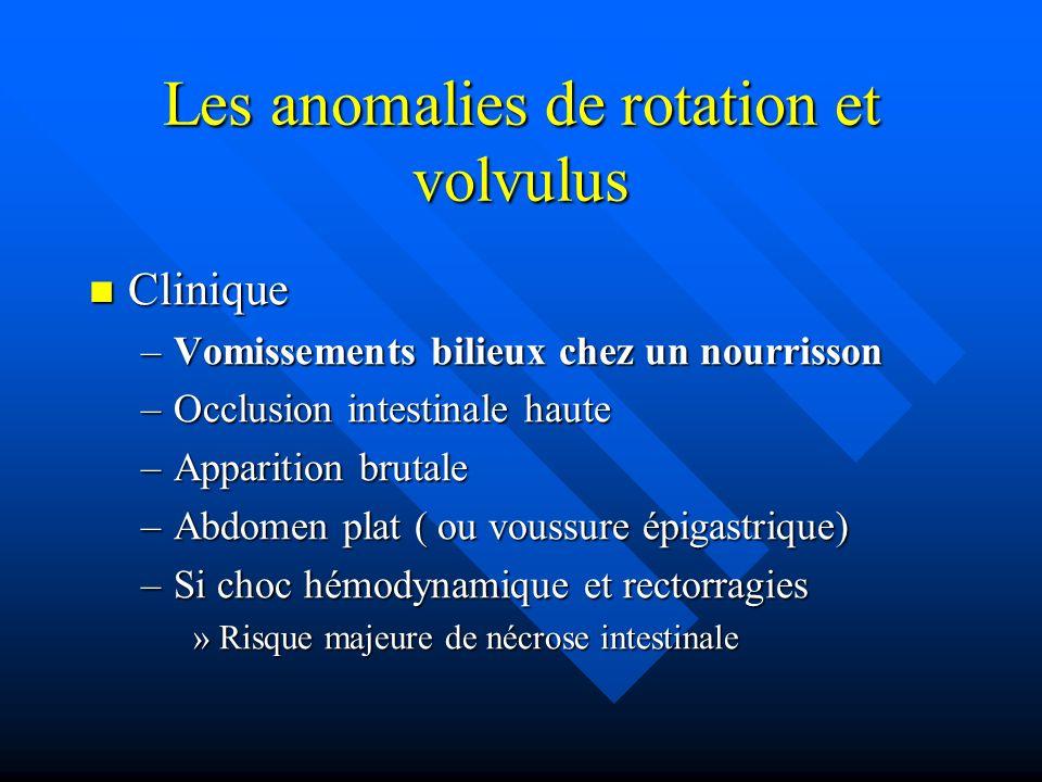 Les anomalies de rotation et volvulus Clinique Clinique –Vomissements bilieux chez un nourrisson –Occlusion intestinale haute –Apparition brutale –Abd