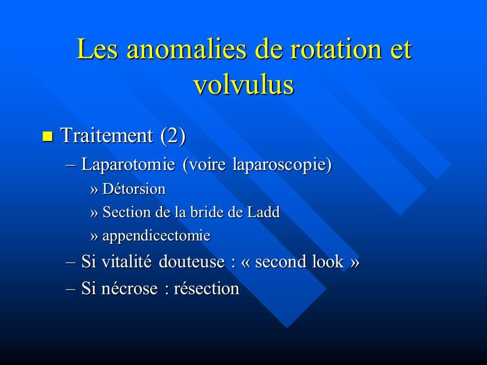 Les anomalies de rotation et volvulus Traitement (2) Traitement (2) –Laparotomie (voire laparoscopie) »Détorsion »Section de la bride de Ladd »appendi