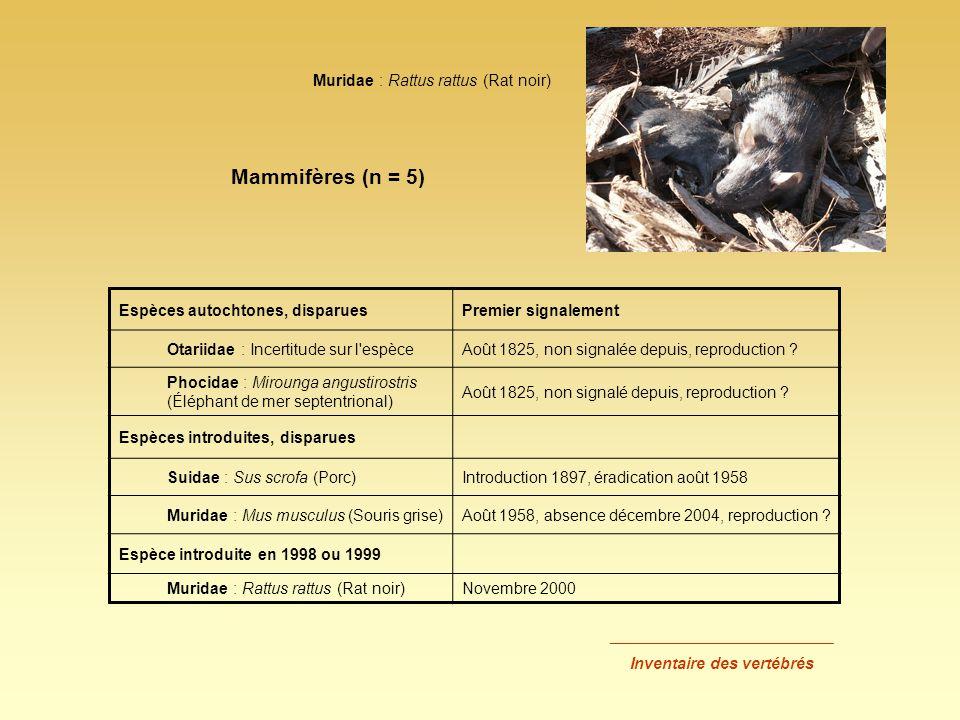 Espèces autochtones, disparuesPremier signalement Otariidae : Incertitude sur l'espèceAoût 1825, non signalée depuis, reproduction ? Phocidae : Miroun