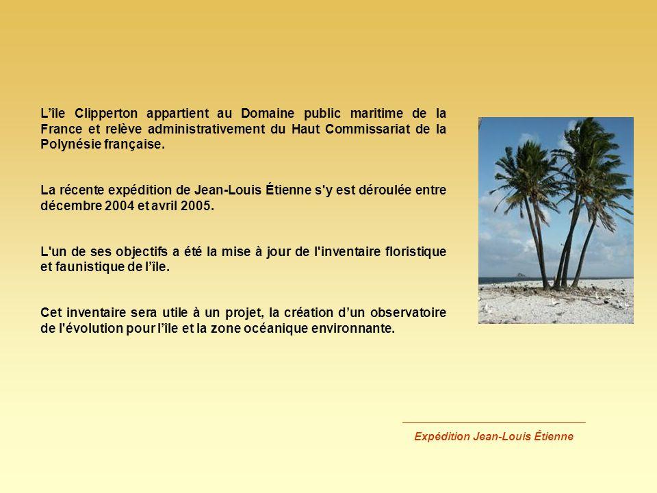 Lîle Clipperton appartient au Domaine public maritime de la France et relève administrativement du Haut Commissariat de la Polynésie française. La réc