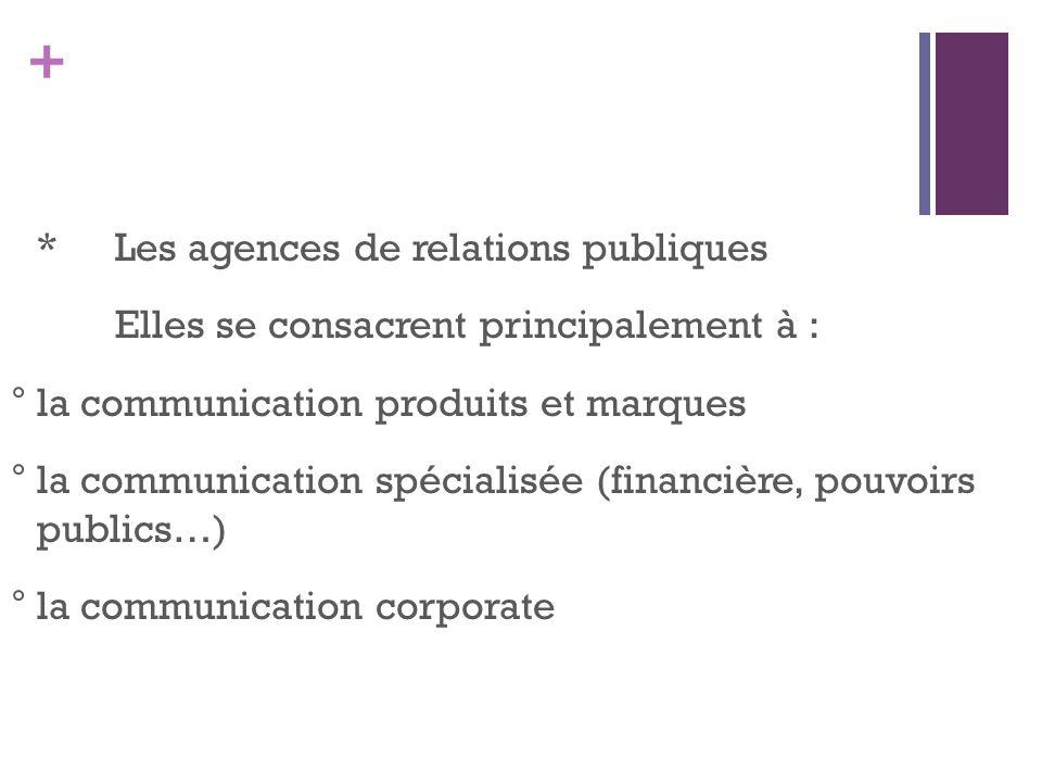 + *Les agences de relations publiques Elles se consacrent principalement à : °la communication produits et marques °la communication spécialisée (fina