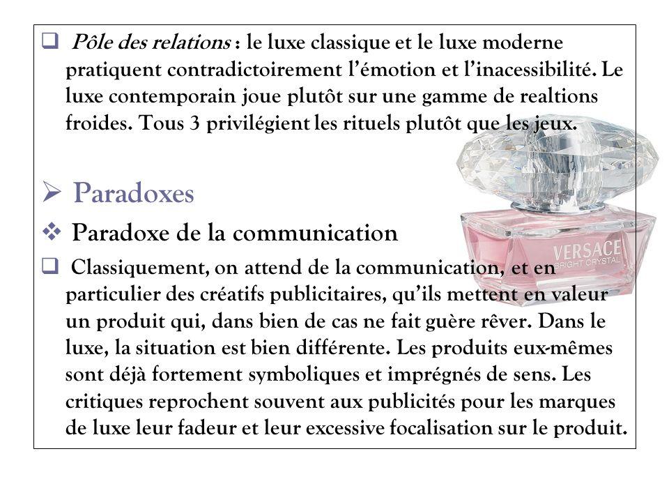 Pôle des relations : le luxe classique et le luxe moderne pratiquent contradictoirement lémotion et linacessibilité. Le luxe contemporain joue plutôt