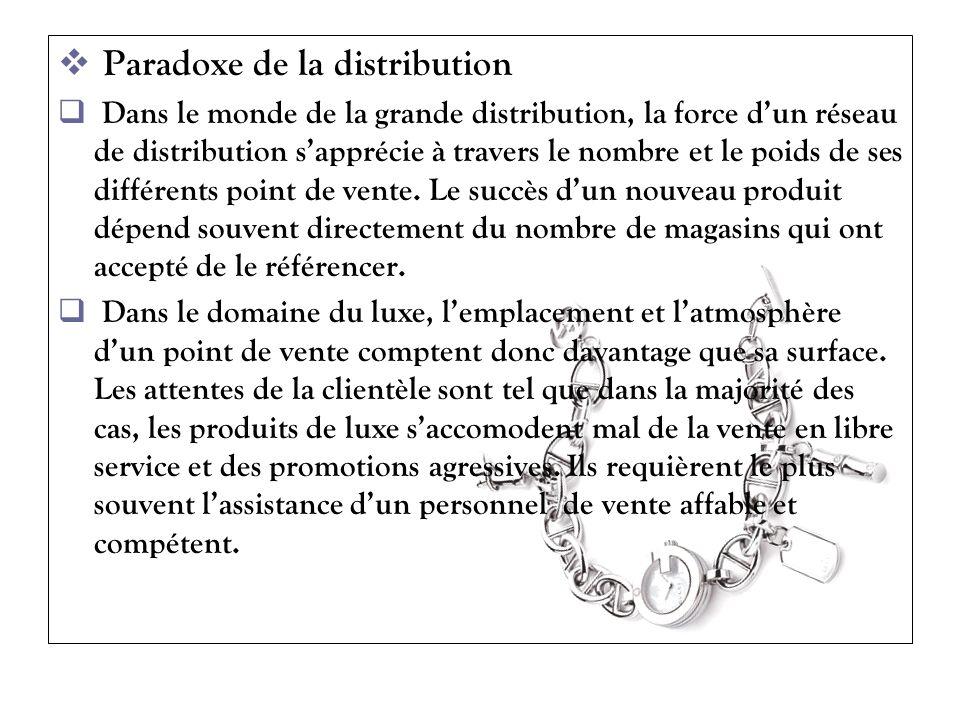 Paradoxe de la distribution Dans le monde de la grande distribution, la force dun réseau de distribution sapprécie à travers le nombre et le poids de