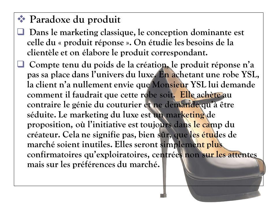 Paradoxe du produit Dans le marketing classique, le conception dominante est celle du « produit réponse ». On étudie les besoins de la clientèle et on