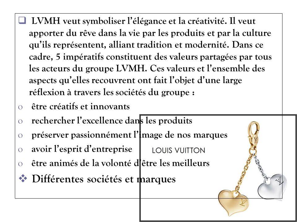 LVMH veut symboliser lélégance et la créativité. Il veut apporter du rêve dans la vie par les produits et par la culture quils représentent, alliant t