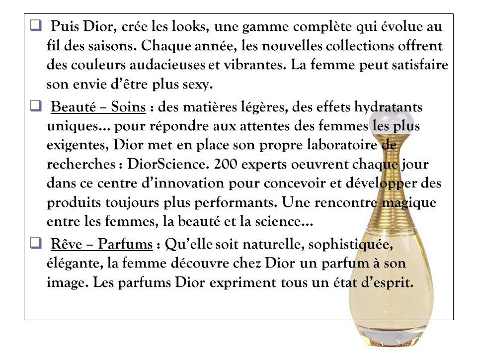 Puis Dior, crée les looks, une gamme complète qui évolue au fil des saisons. Chaque année, les nouvelles collections offrent des couleurs audacieuses