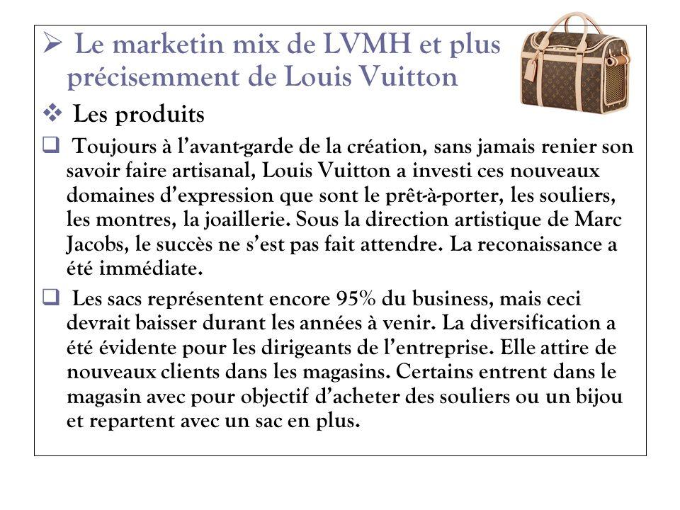 Le marketin mix de LVMH et plus précisemment de Louis Vuitton Les produits Toujours à lavant-garde de la création, sans jamais renier son savoir faire