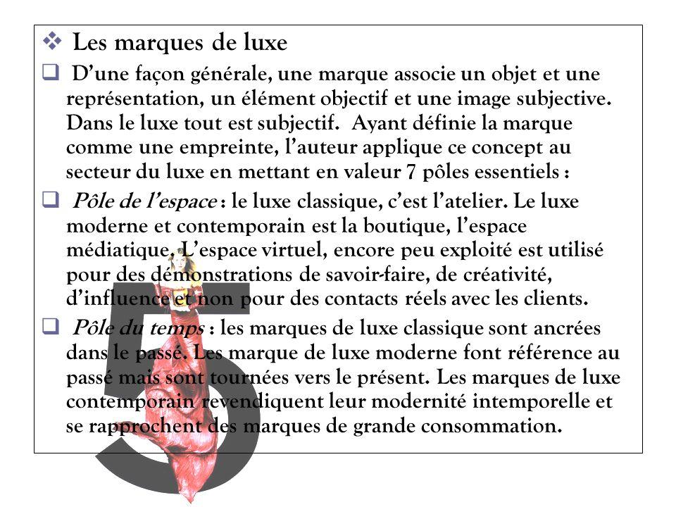 Les marques de luxe Dune façon générale, une marque associe un objet et une représentation, un élément objectif et une image subjective. Dans le luxe