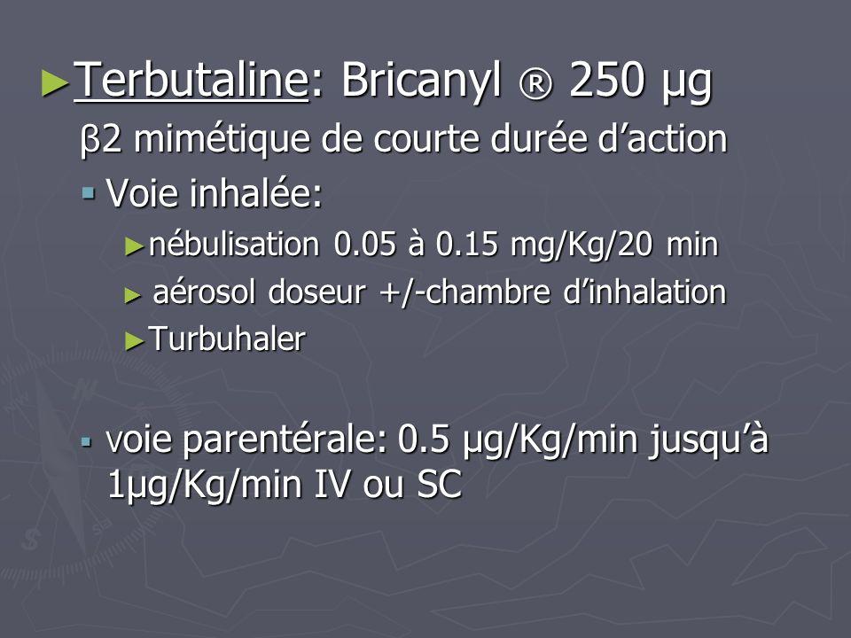 Terbutaline: Bricanyl ® 250 µg Terbutaline: Bricanyl ® 250 µg β 2 mimétique de courte durée daction Voie inhalée: Voie inhalée: nébulisation 0.05 à 0.