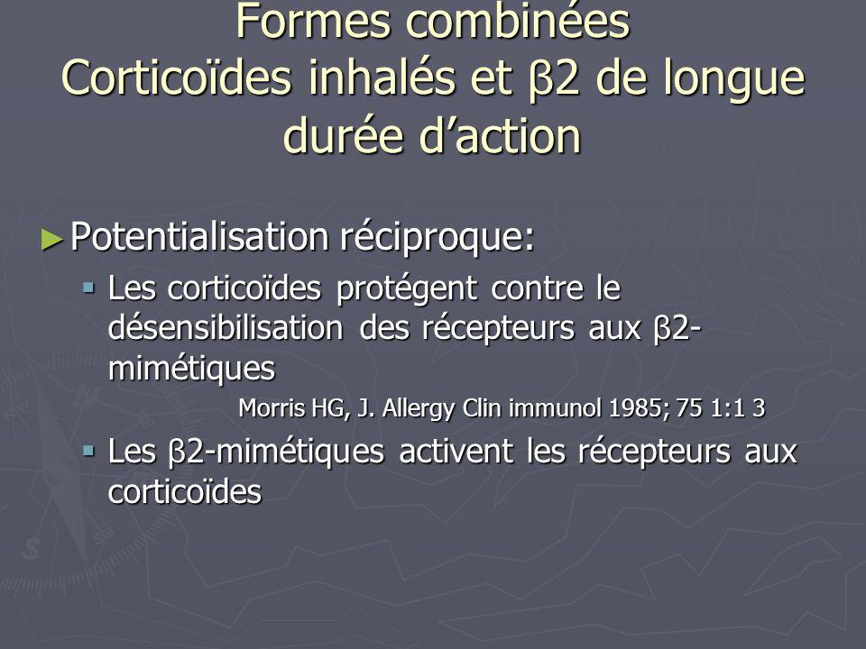 Formes combinées Corticoïdes inhalés et β 2 de longue durée daction Potentialisation réciproque: Potentialisation réciproque: Les corticoïdes protégen