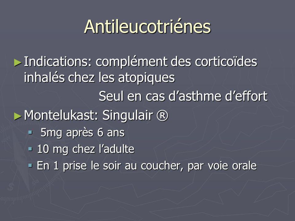 Antileucotriénes Indications: complément des corticoïdes inhalés chez les atopiques Indications: complément des corticoïdes inhalés chez les atopiques