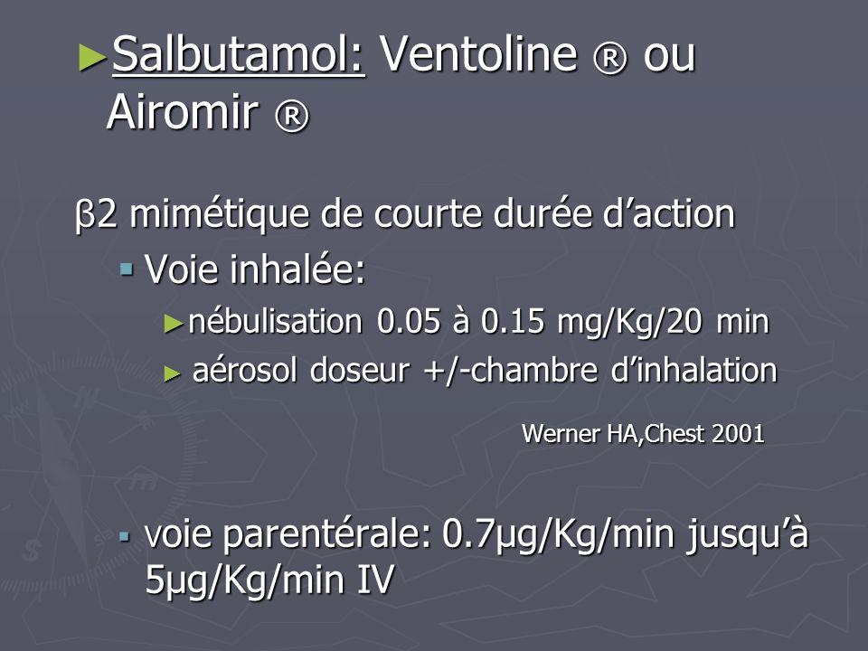 Salbutamol: Ventoline ® ou Airomir ® Salbutamol: Ventoline ® ou Airomir ® β 2 mimétique de courte durée daction Voie inhalée: Voie inhalée: nébulisati