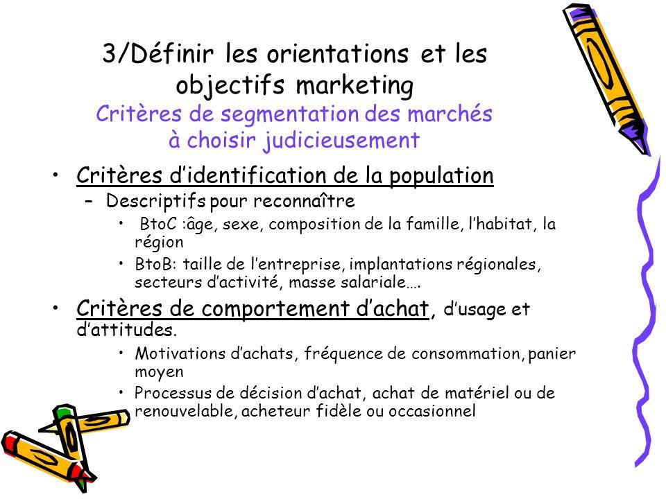 3/Définir les orientations et les objectifs marketing Critères de segmentation des marchés à choisir judicieusement Critères didentification de la pop