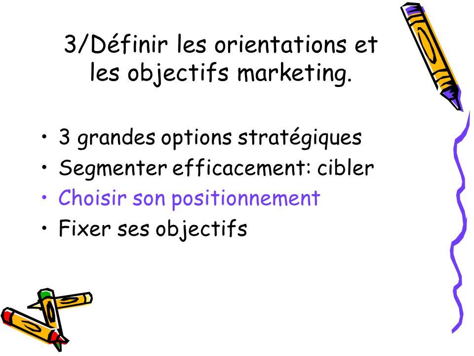 3/Définir les orientations et les objectifs marketing. 3 grandes options stratégiques Segmenter efficacement: cibler Choisir son positionnement Fixer