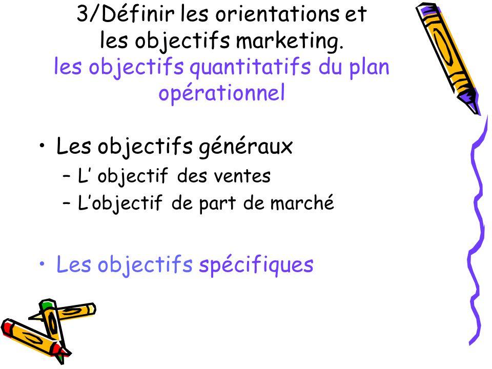 3/Définir les orientations et les objectifs marketing. les objectifs quantitatifs du plan opérationnel Les objectifs généraux –L objectif des ventes –