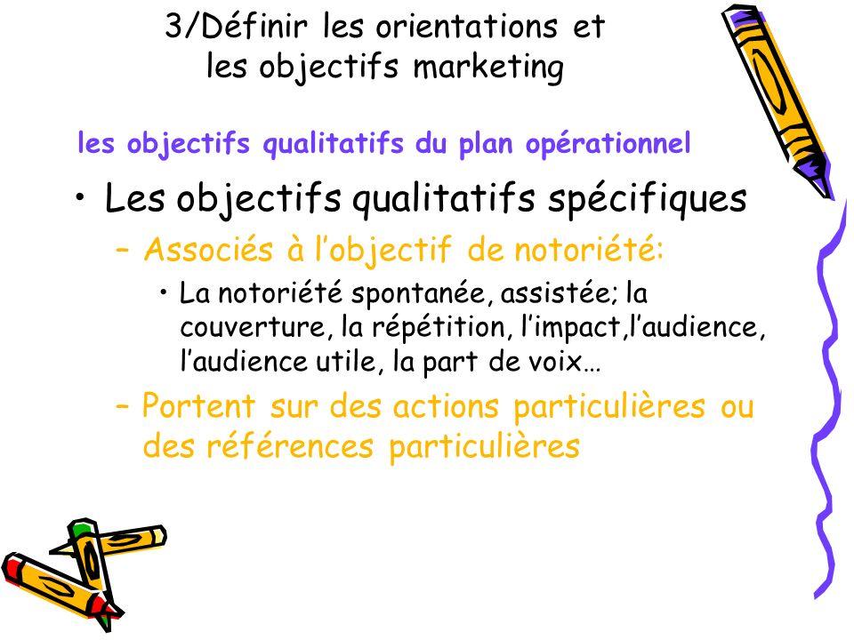 3/Définir les orientations et les objectifs marketing les objectifs qualitatifs du plan opérationnel Les objectifs qualitatifs spécifiques –Associés à