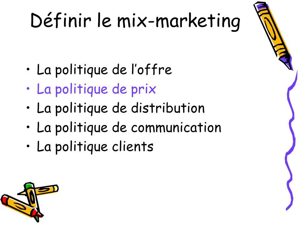 Définir le mix-marketing La politique de loffre La politique de prix La politique de distribution La politique de communication La politique clients