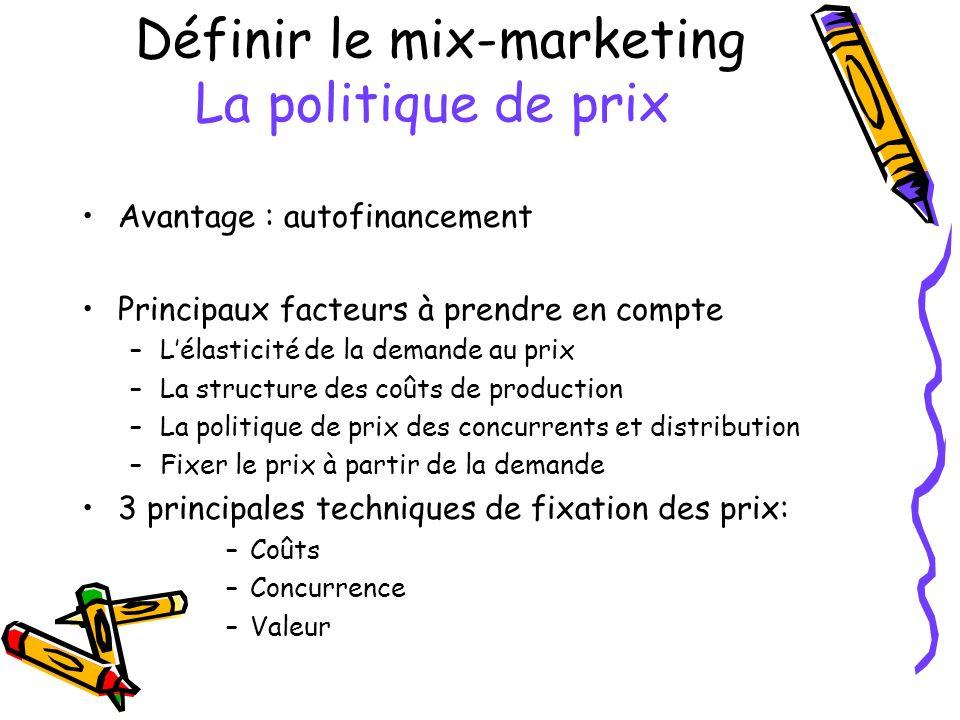 Définir le mix-marketing La politique de prix Avantage : autofinancement Principaux facteurs à prendre en compte –Lélasticité de la demande au prix –L