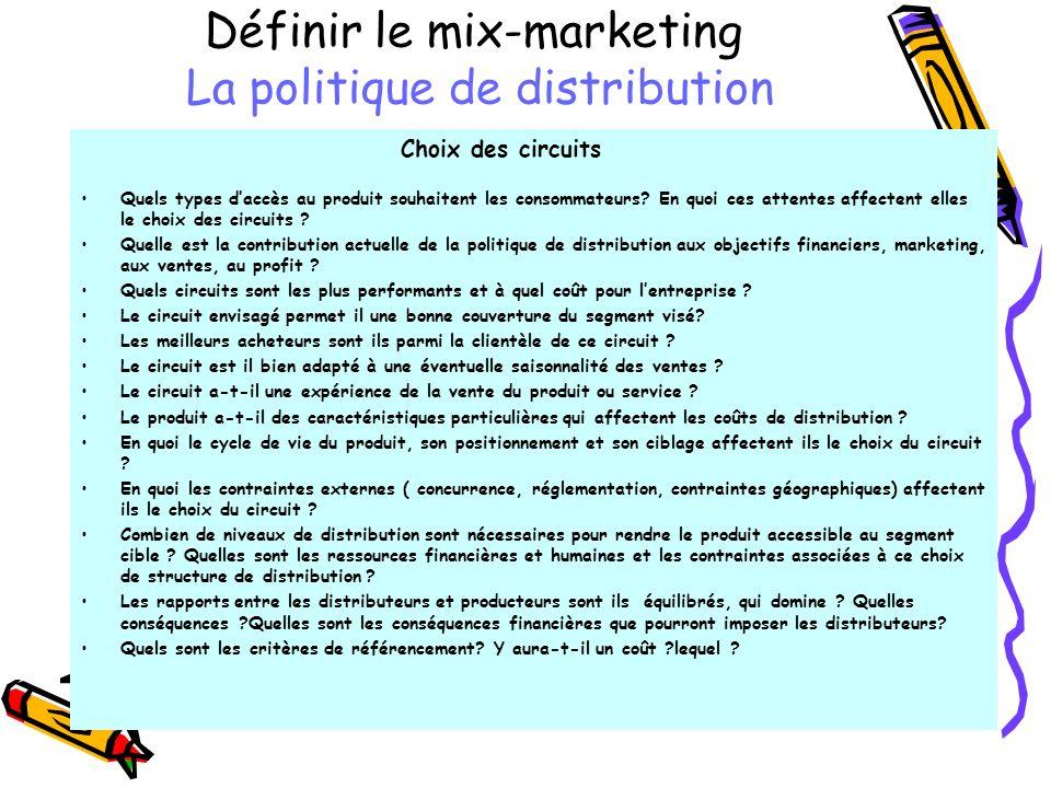 Définir le mix-marketing La politique de distribution Choix des circuits Quels types daccès au produit souhaitent les consommateurs? En quoi ces atten