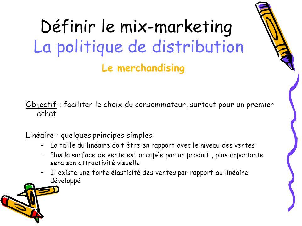 Définir le mix-marketing La politique de distribution Le merchandising Objectif : faciliter le choix du consommateur, surtout pour un premier achat Li
