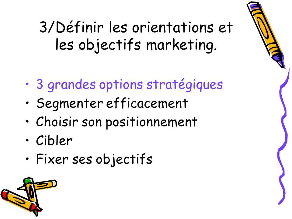 3/Définir les orientations et les objectifs marketing. 3 grandes options stratégiques Segmenter efficacement Choisir son positionnement Cibler Fixer s