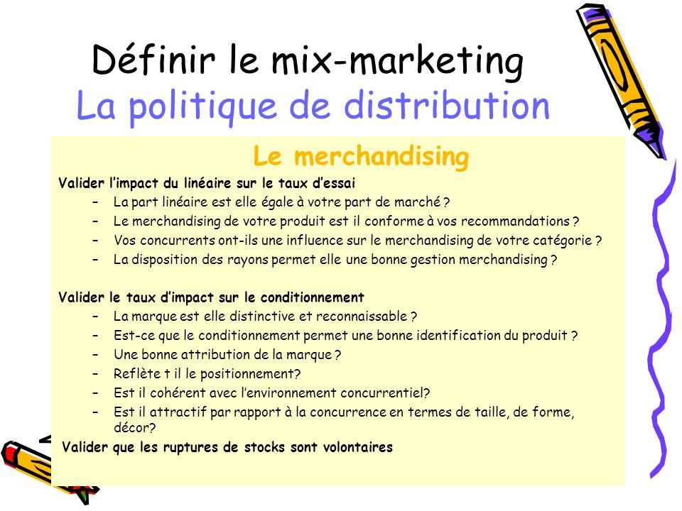 Définir le mix-marketing La politique de distribution Le merchandising Valider limpact du linéaire sur le taux dessai –La part linéaire est elle égale