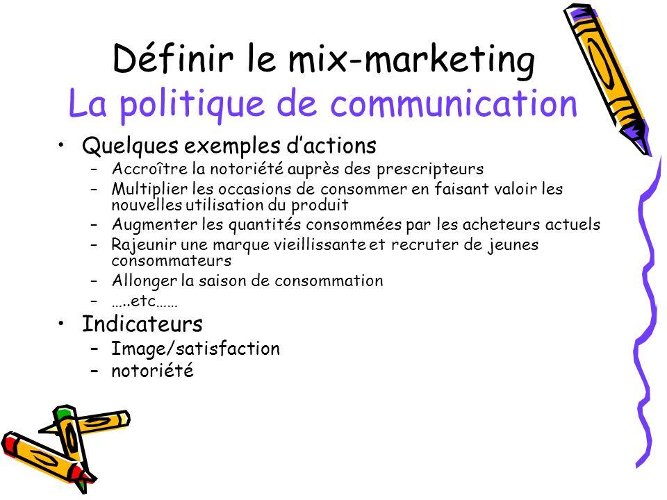 Définir le mix-marketing La politique de communication Quelques exemples dactions –Accroître la notoriété auprès des prescripteurs –Multiplier les occ